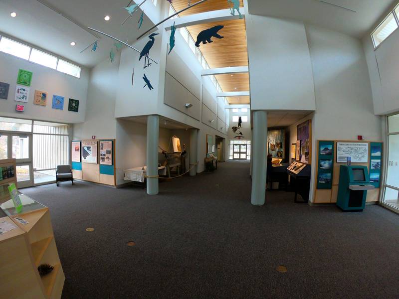 Inside view of exhibit hall of the visitor center at Goose Creek State Park, North Carolina