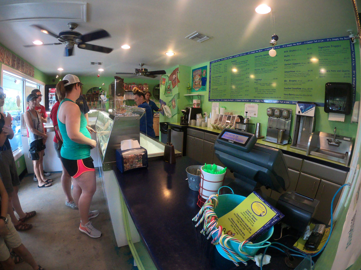 Interior of Pinocchios Original Italian Ice Cream shop on Sanibel Island, FL