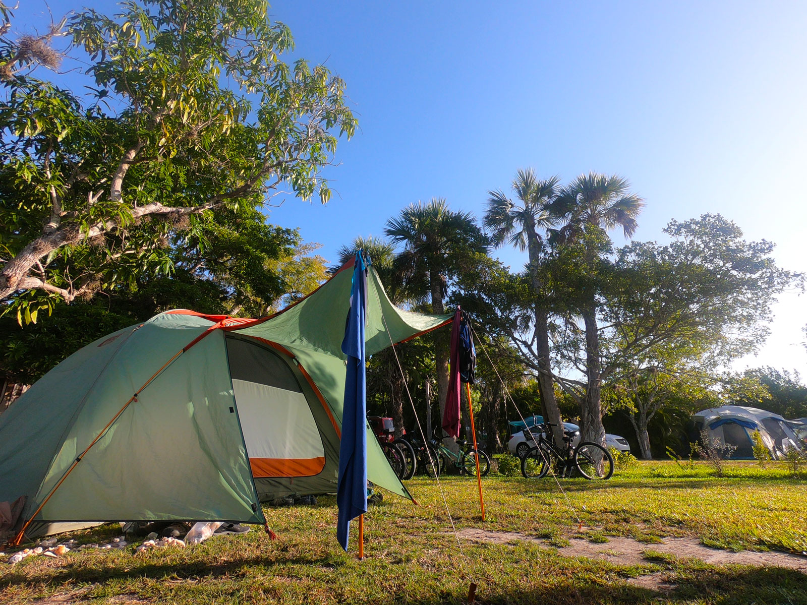 Tent and bikes at Periwinkle Park and Campground, Sanibel Island, Florida
