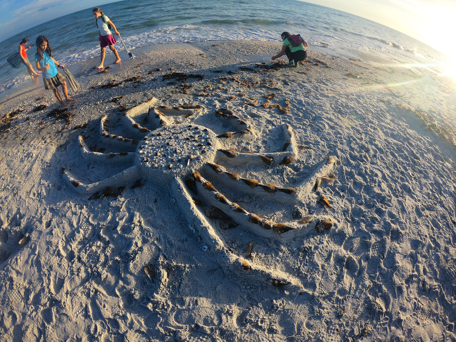 Family of four looking at sand crab sculpture with seashells on Sanibel Island, FL
