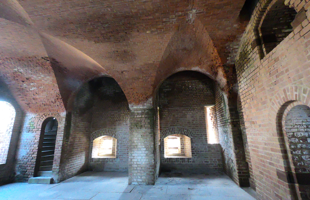 Brick interior of Fort Clinch State Park, Florida while camping on Amelia Island