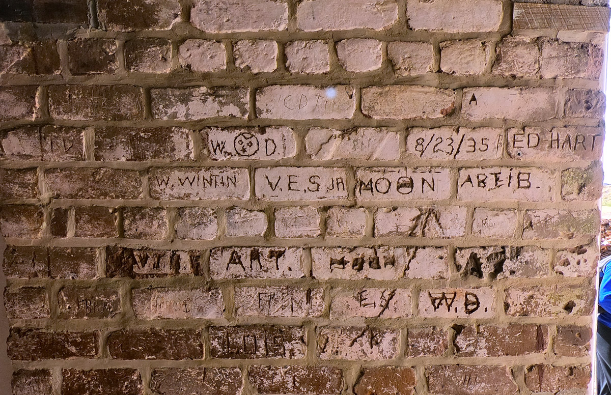 Historical graffiti carved into the bricks at historic Fort Clinch State Park, Florida, on Amelia Island