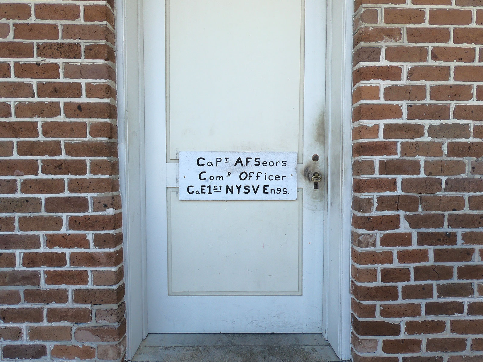 Beautiful typography on commander's barrack door in historic Fort Clinch, Florida
