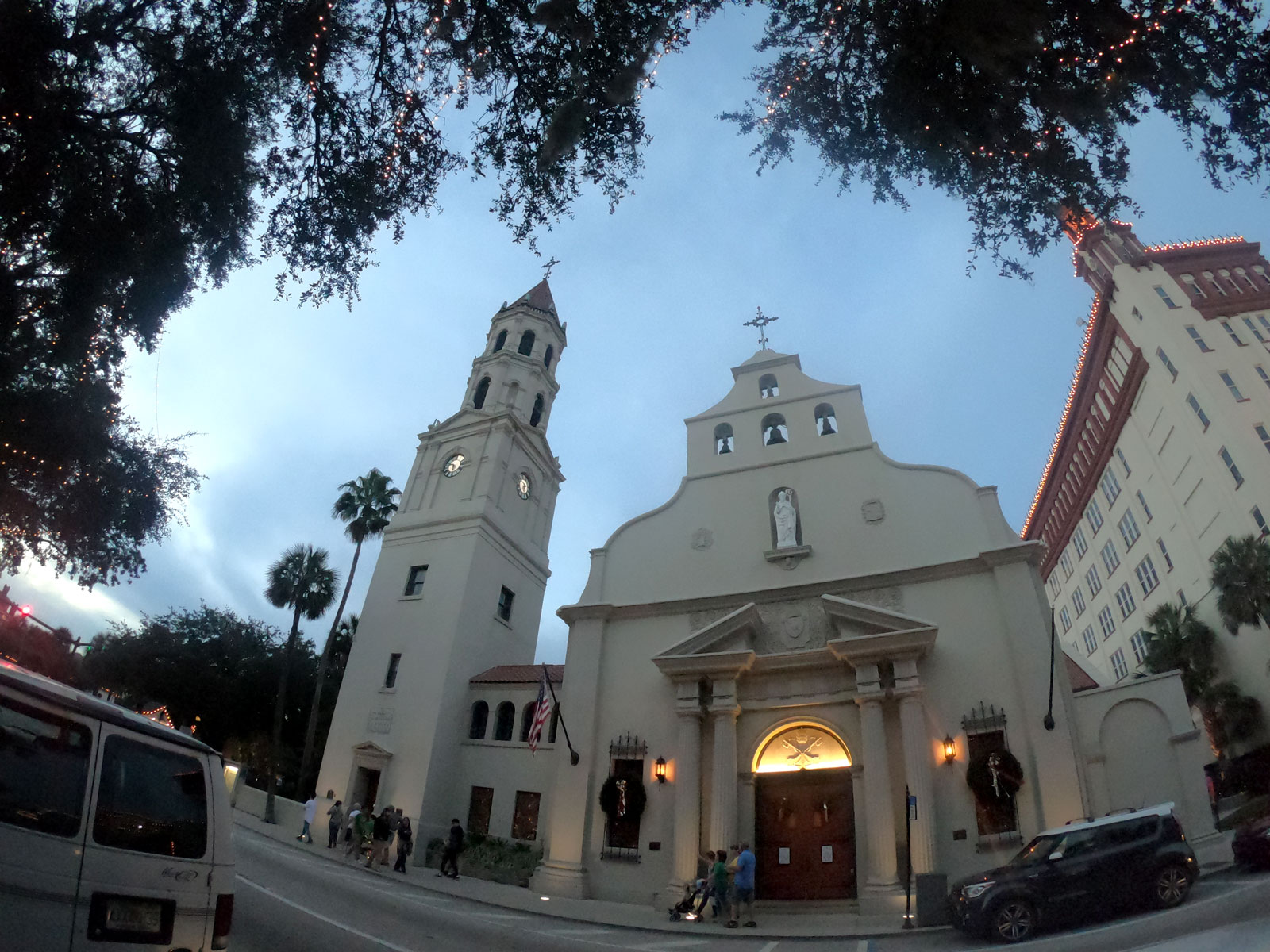 Exterior of Cathedral Basilica of Saint Augustine in evening in Saint Augustine, Florida