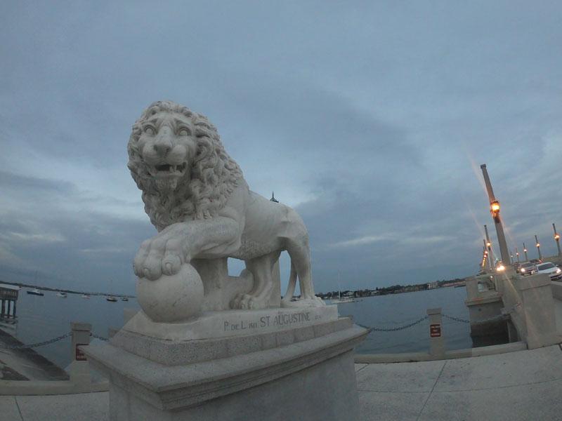 Lion statue at Bridge of Lions in Saint Augustine, Floria