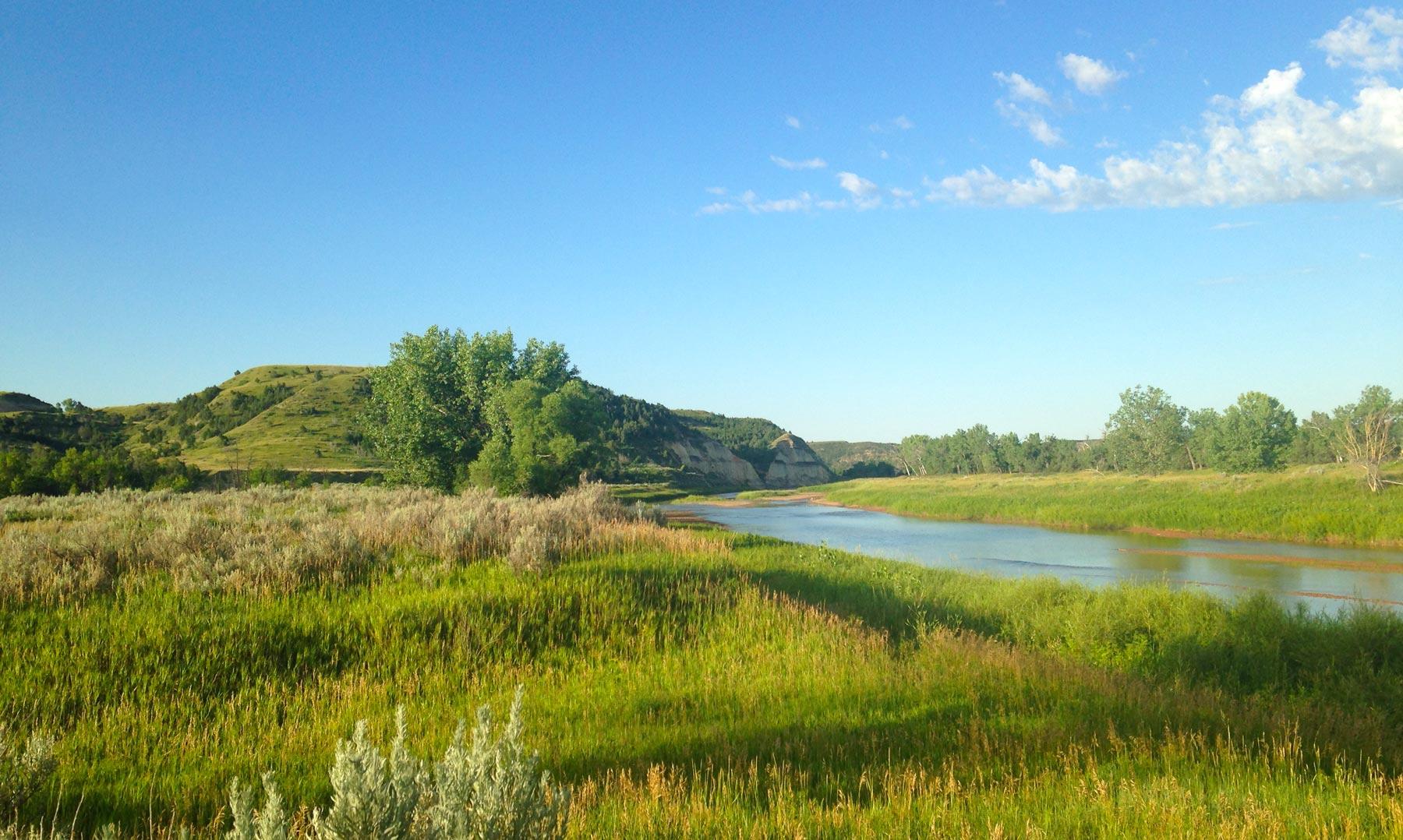 Cottonwood Campground campsite overlooking Little Missouri River in Theodore Roosevelt National Park, North Dakota