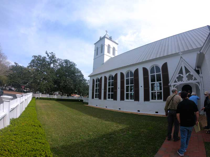 Side entrance to 1832 Old Christ Church at Historic Pensacola Village Florida