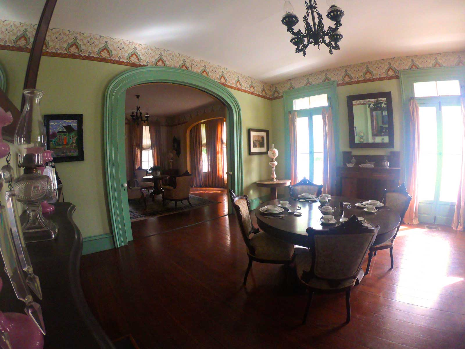 Interior view of dining room in the Dorr House in Historic Pensacola Village, Florida