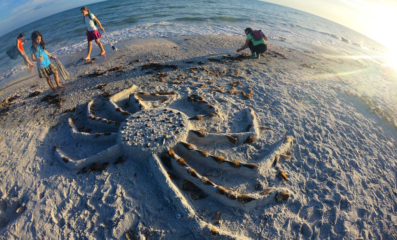 4 girls on Sanibel Island beach looking at crab-shaped sand art