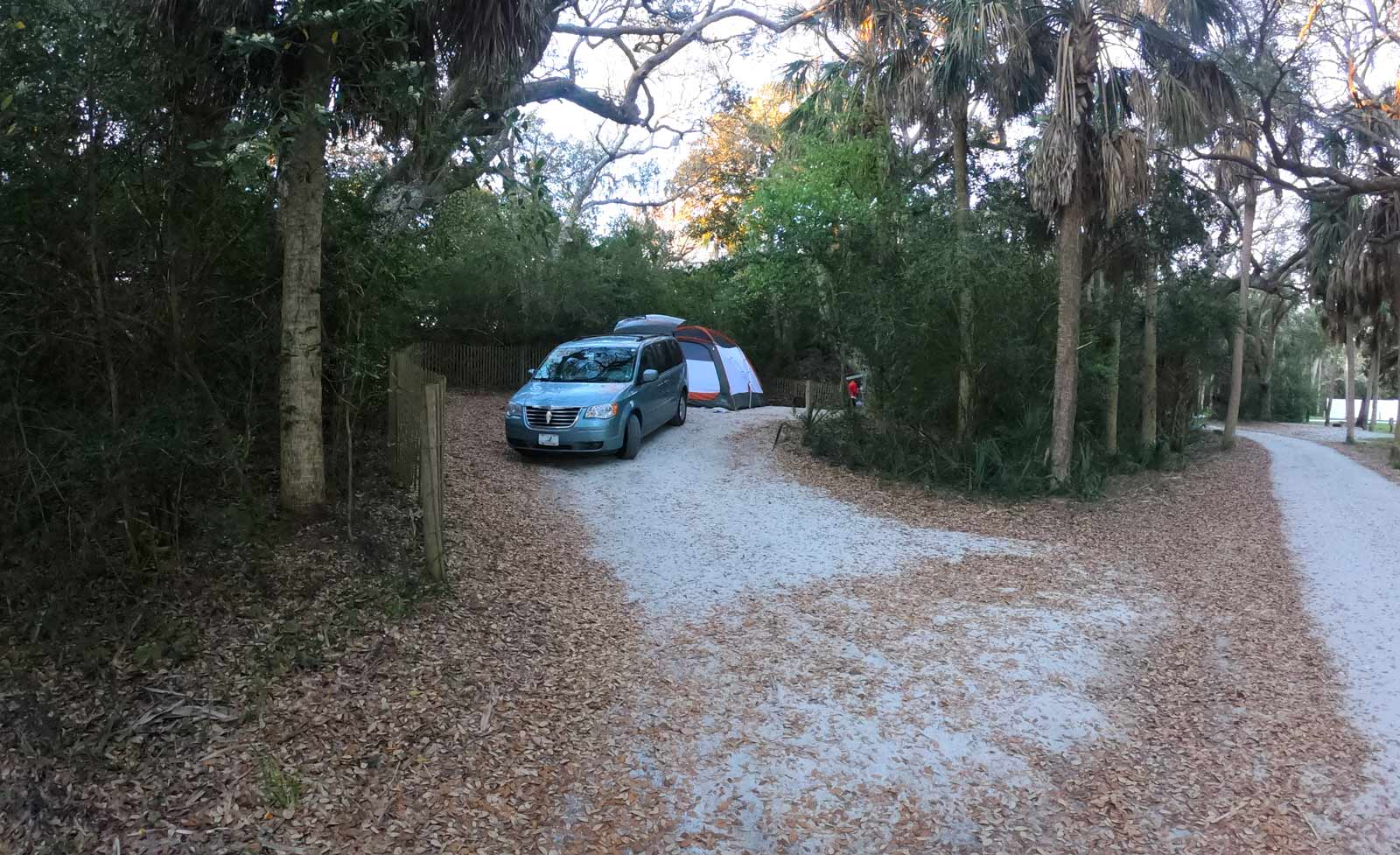 Van and tent at campsite in the Beach Campground in Edisto Beach State Park, SC