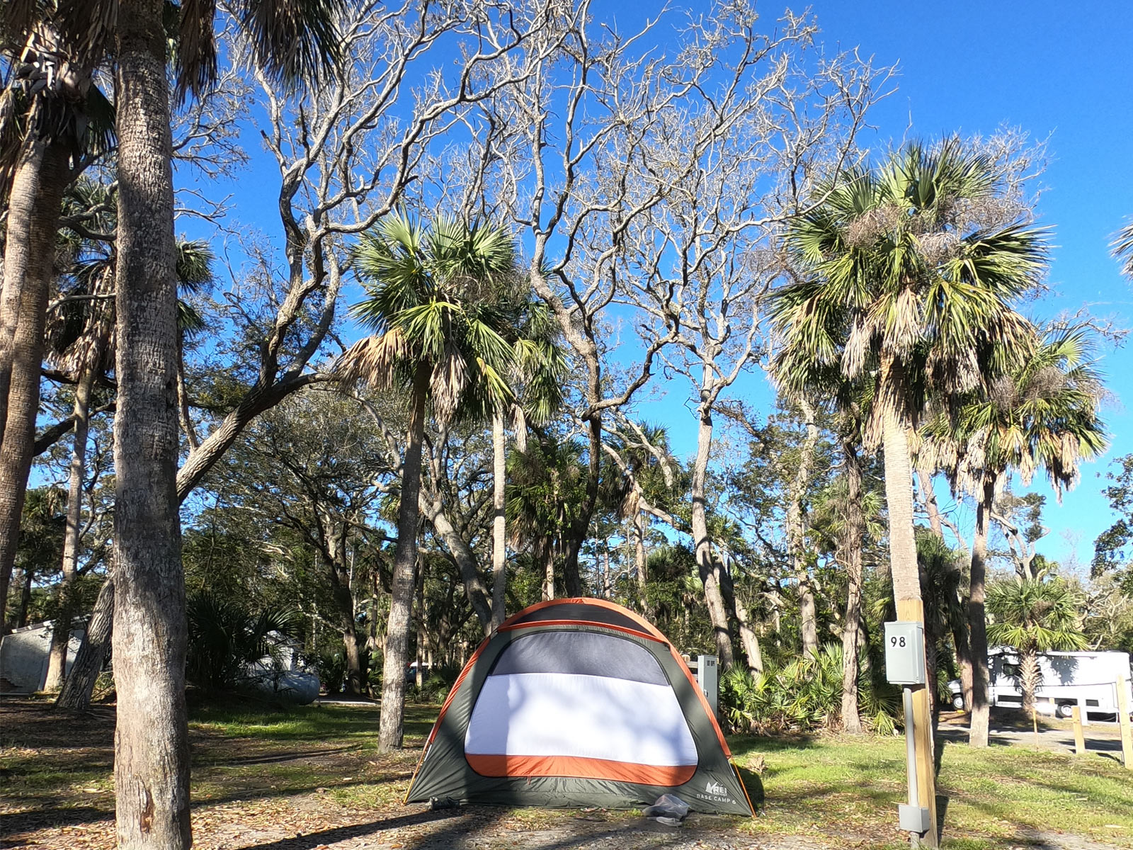 REI tent at campsite at Hunting Island State Park, South Carolina