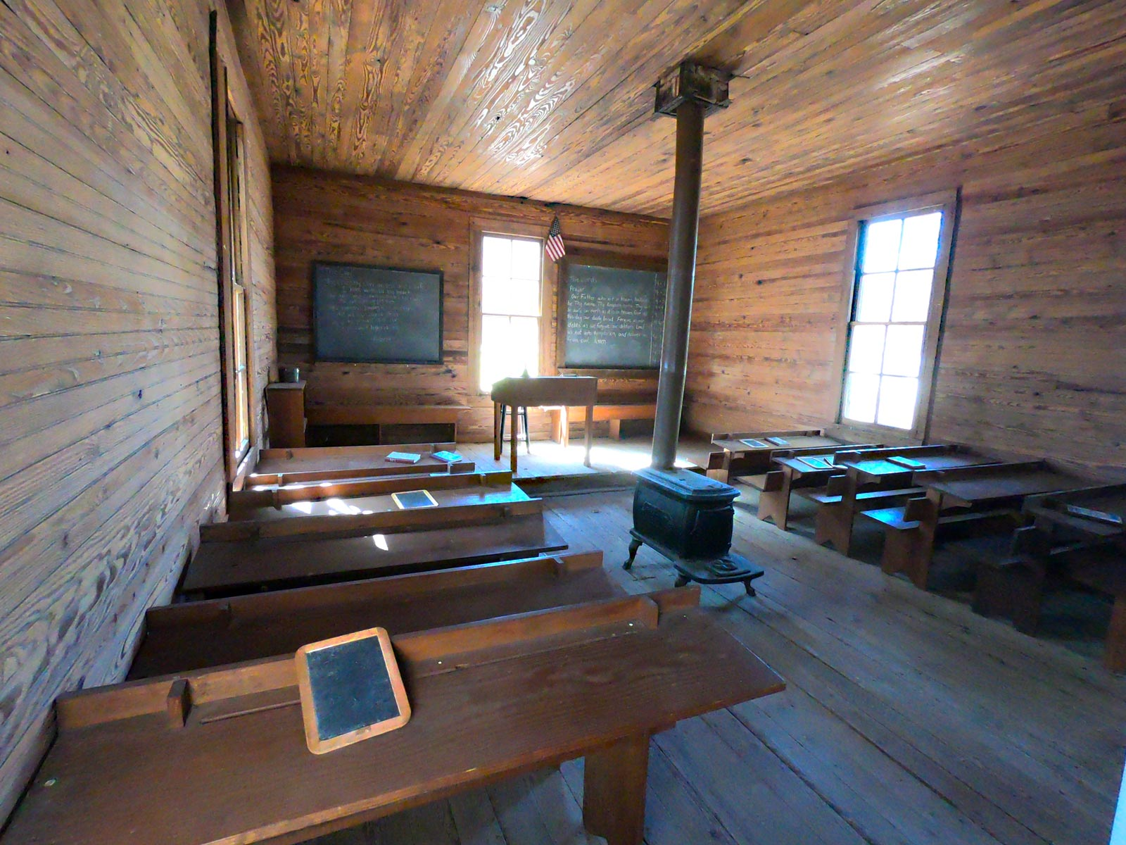 Interior of one-room school house at the Tobacco Farm Life Museum, Kenly, North Carolina