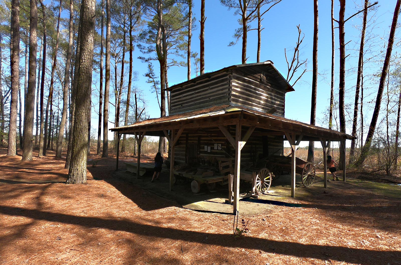 Log-and-mortar building used as a tobacco curing barn at the Tobacco Farm Life Museum, Kenly, North Carolina