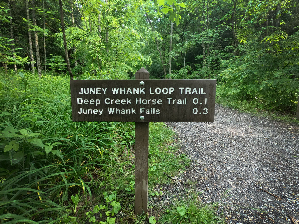 Trailhead signage to the Juney Whank Loop Trail in Deek Creek section of Great Smoky Mountains National Park, North Carolina
