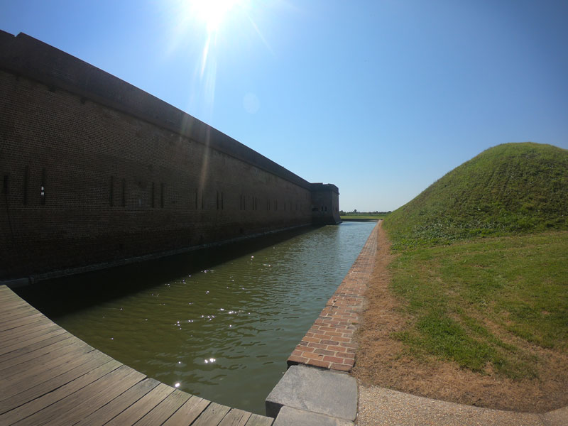 Moat between Fort Pulaski and a bunker at Fort Pulaski National Monument, Georgia