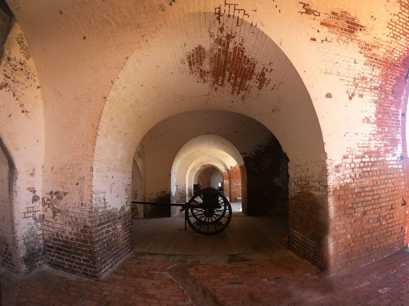 Brick archways with cannon at Fort Pulaski National Monument, Georgia