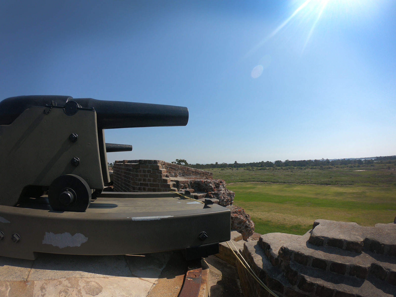 Cannon mounted on exterior wall of Fort Pulaski National Monument, Georgia