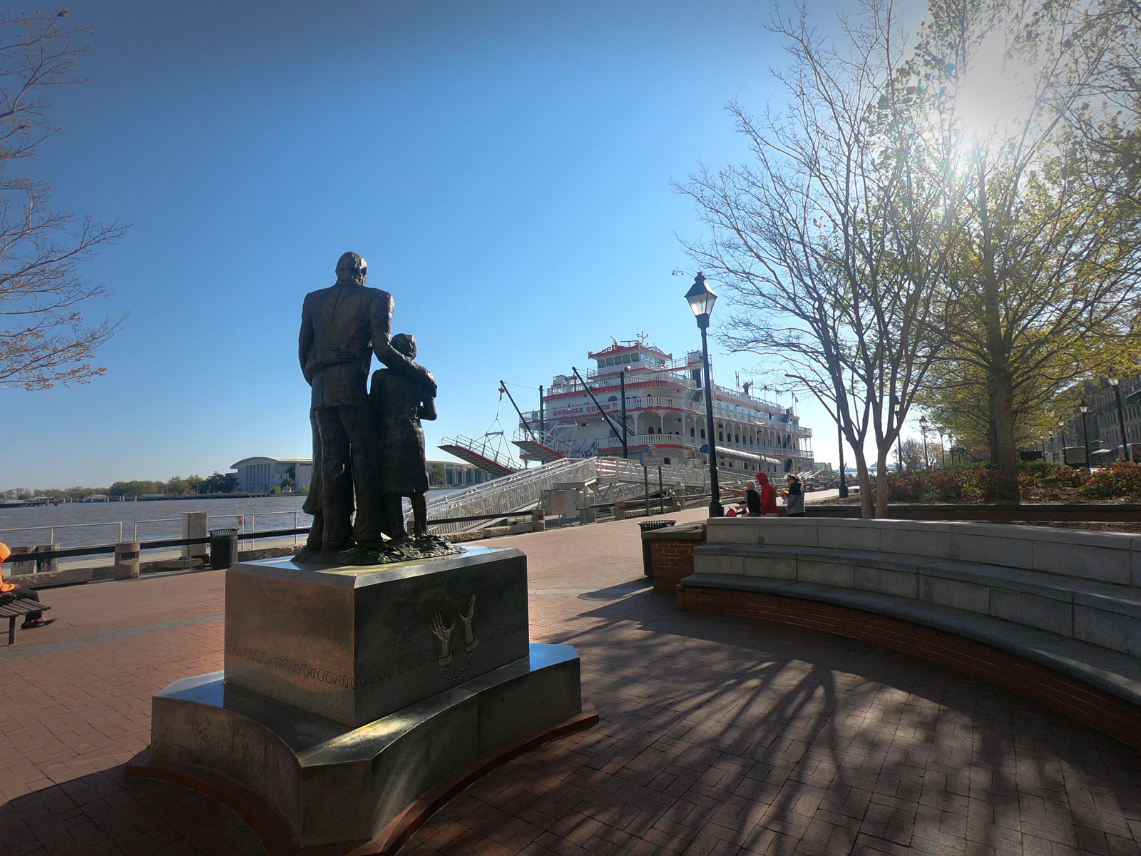 African American Monument of Slavery on Savannah riverfront in Georgia