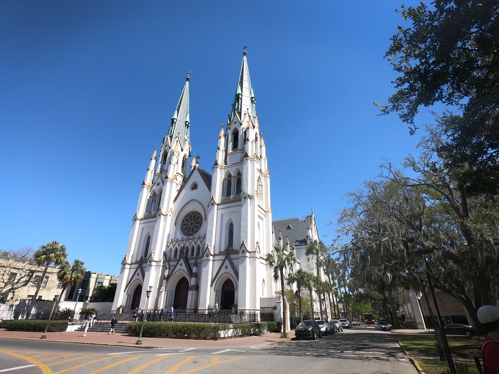 Exterior view of French Gothic styled Cathedral of St John the Baptist Catholic Church in Savannah, Georgia