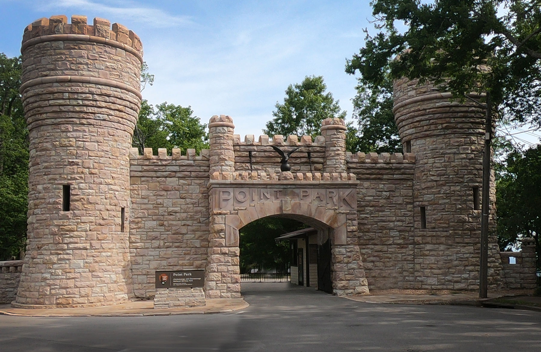 Turreted castle gates of Point Park Gate in Chattanooga, Tennessee