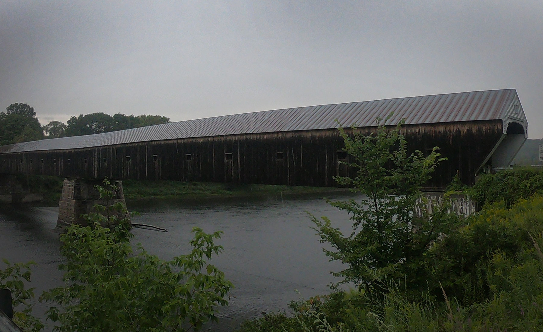 Exterior view of Cornish-Windsor Covered Bridge, connecting Vermont to New Hampshire