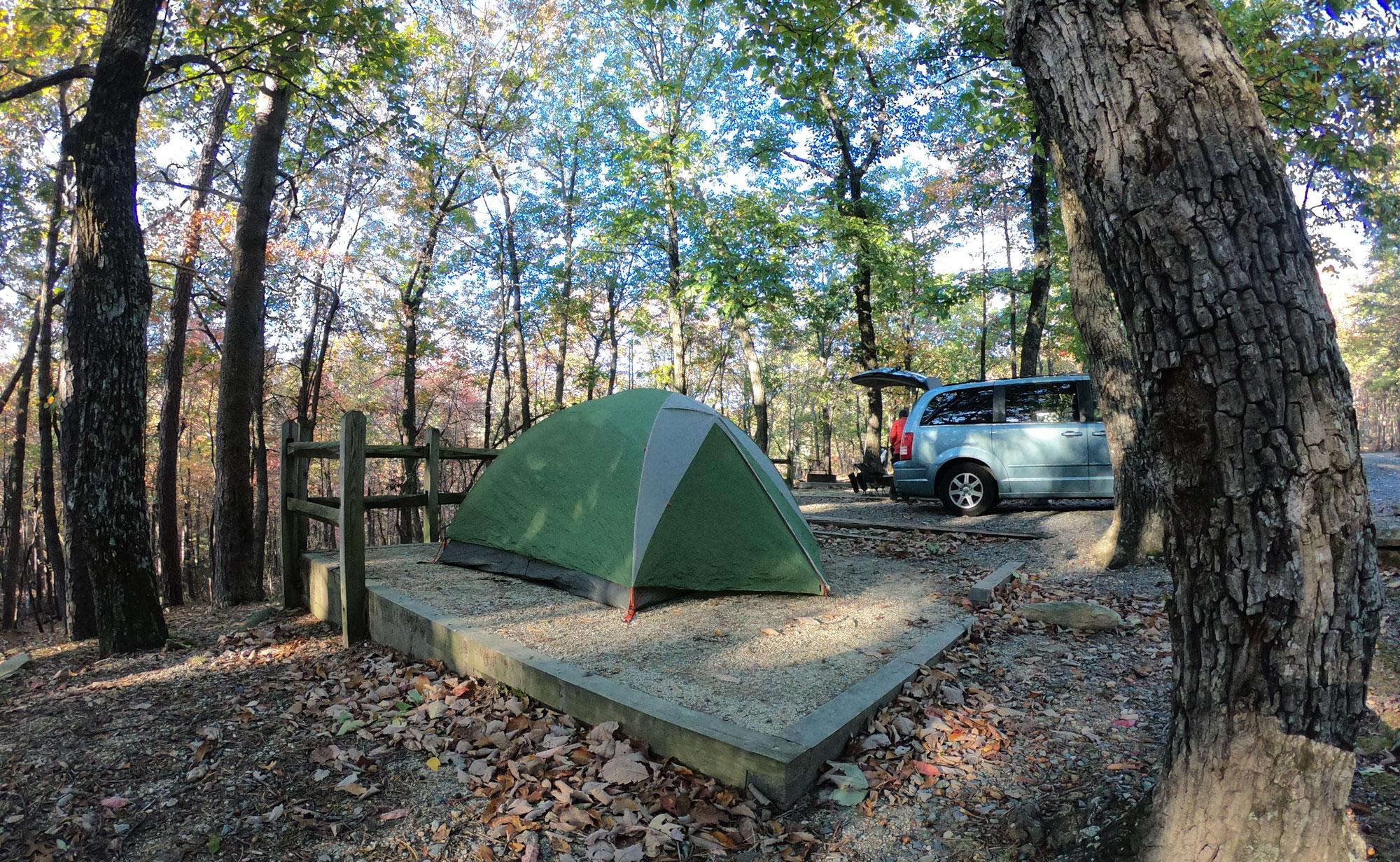 Green Tent and van at campsite of Hanging Rock State Park, North Carolina