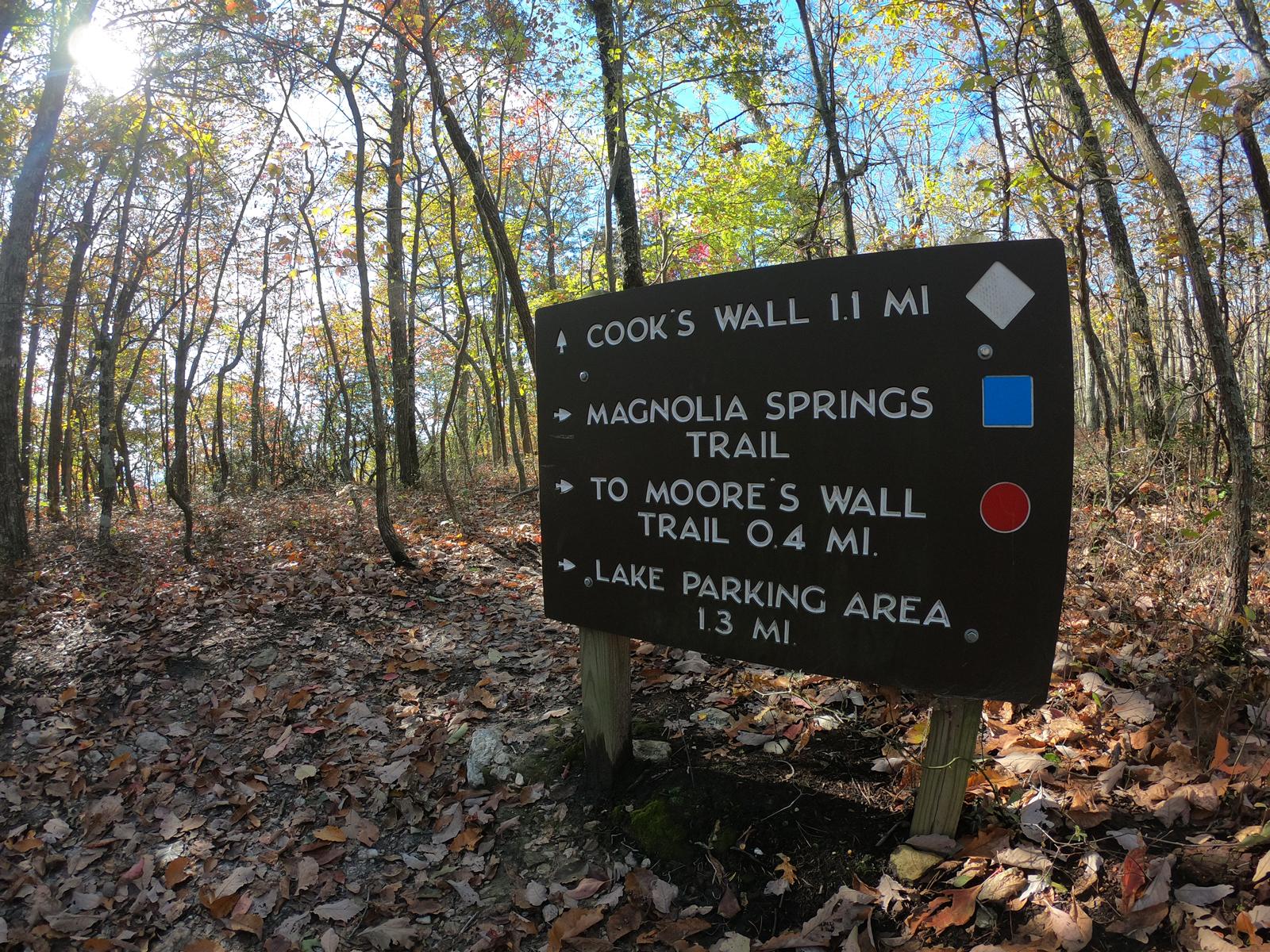 Hiking to trail signage in Hanging Rock State Park, North Carolina