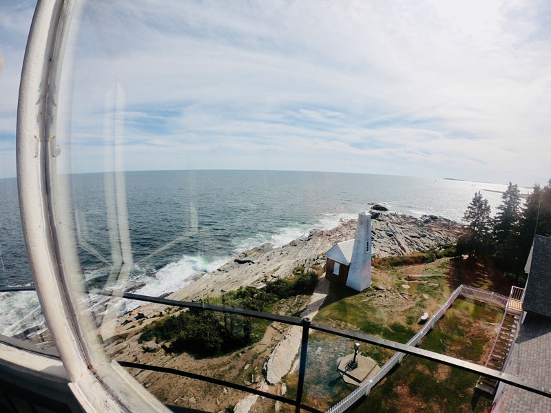 Bird's eye view from Pemaquid Point Lighthouse in Bristol, Maine