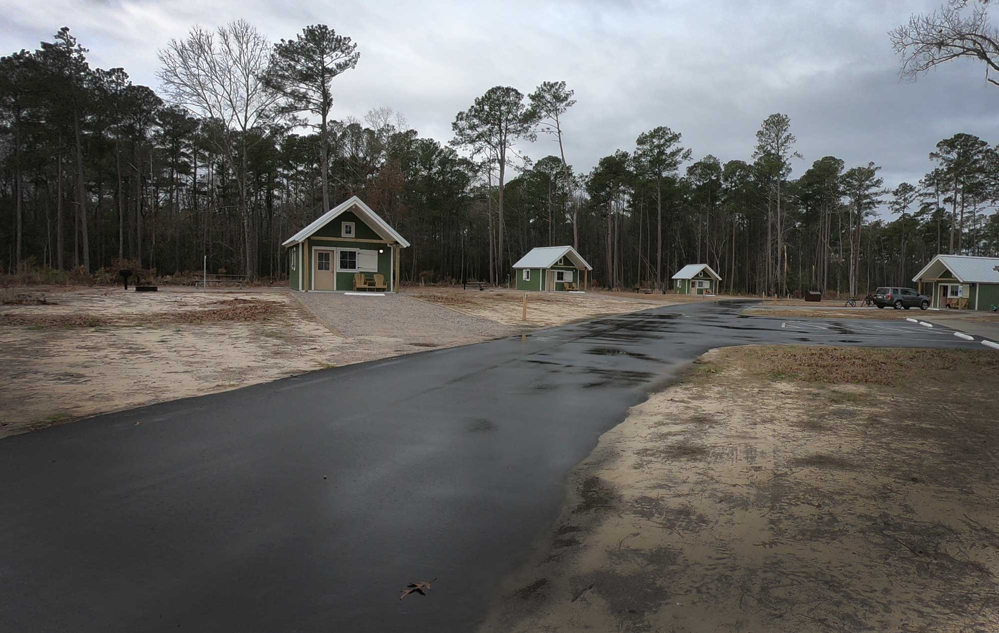 Several Goose Creek State Park camping cabins on the  loop in North Carolina