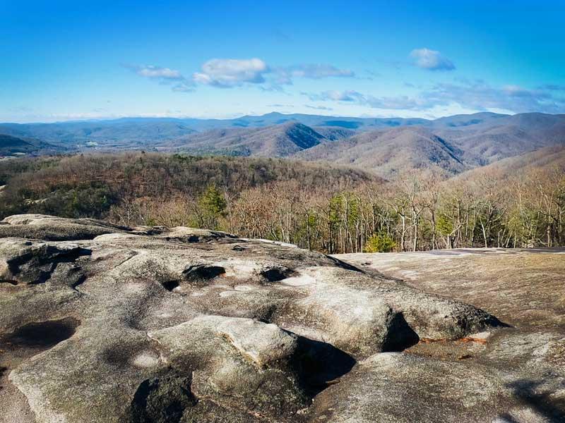 Rocky ground on Stone Mountain summit view at Stone Mountain State Park, North Carolina