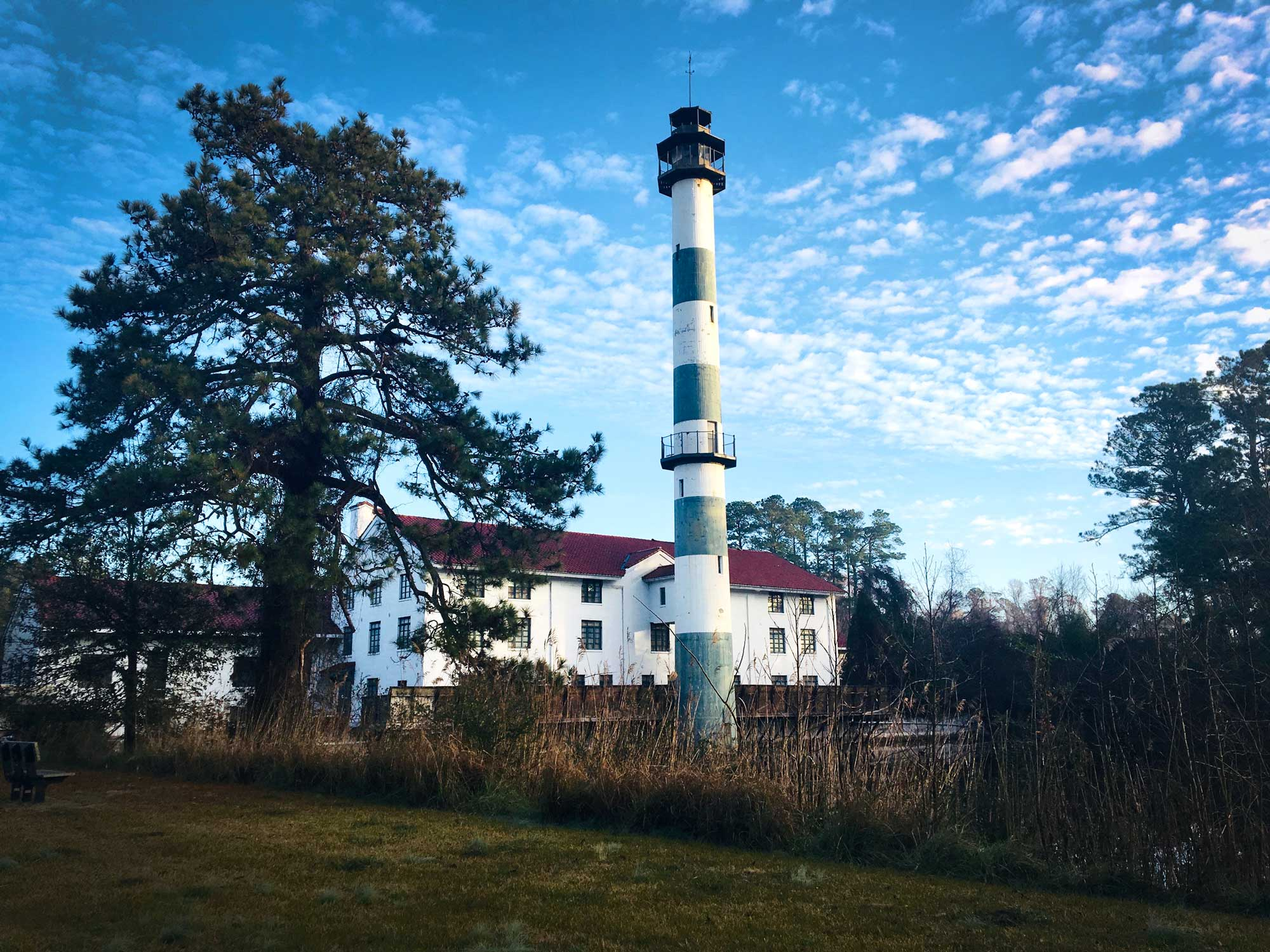 Former hunting lodge and observation tower at Mattamuskeet National Wildlife Refuge, North Carolina