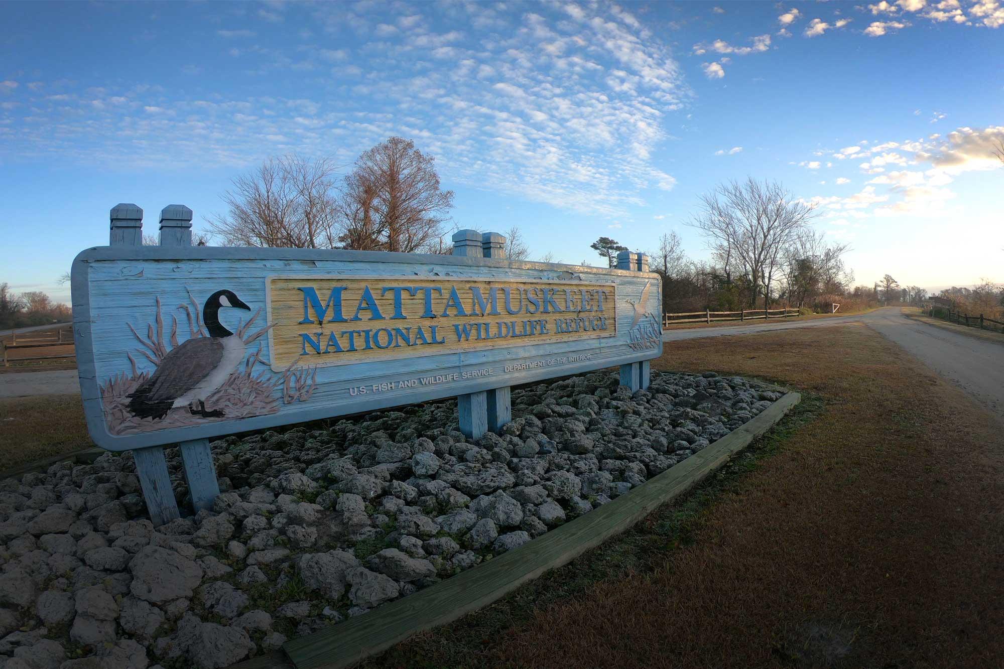Mattamuskeet National Wildlife Refuge signage at sunrise