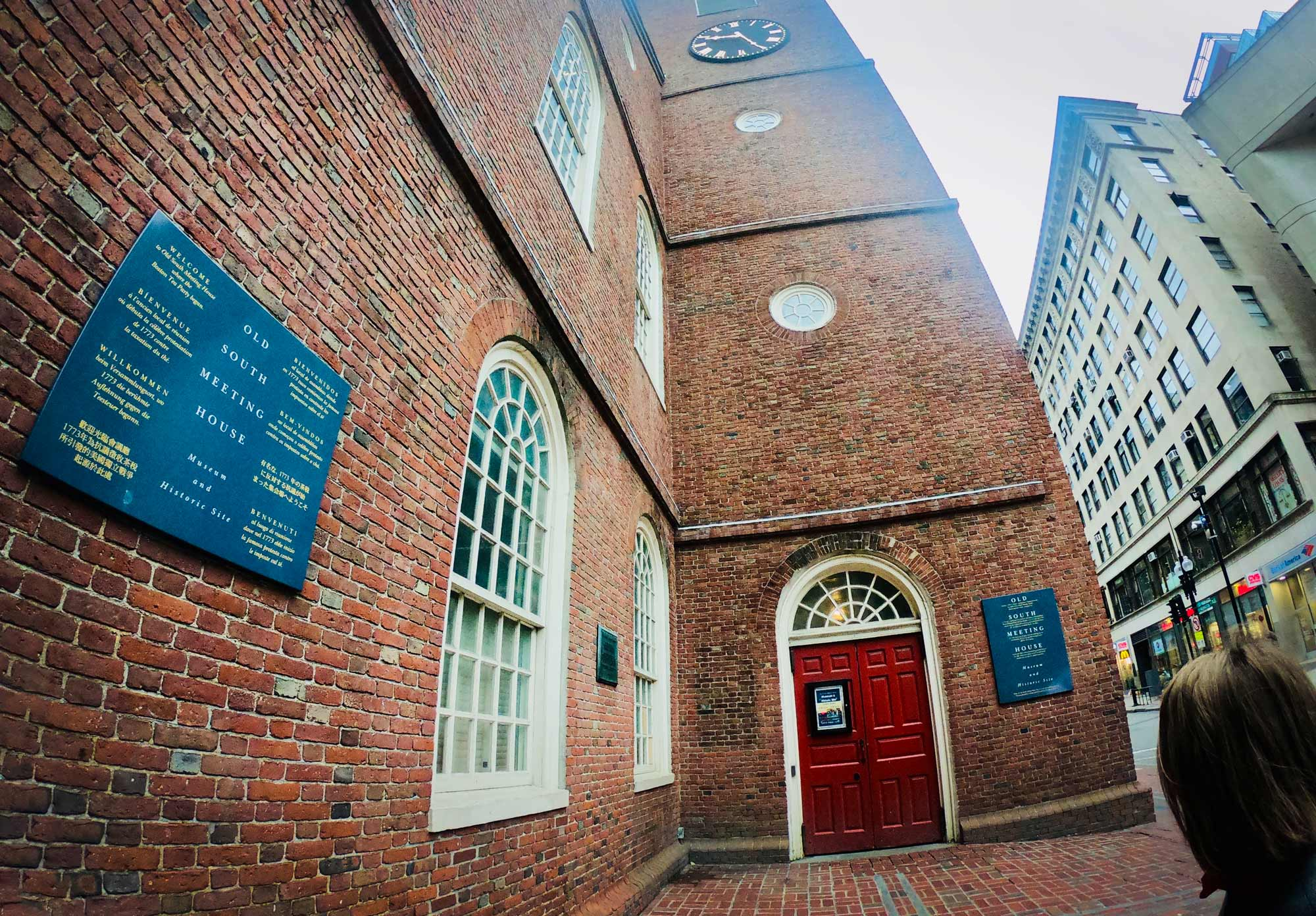 Exterior brick view of Old South Meeting House on Freedom Trail in Boston, Massachusetts