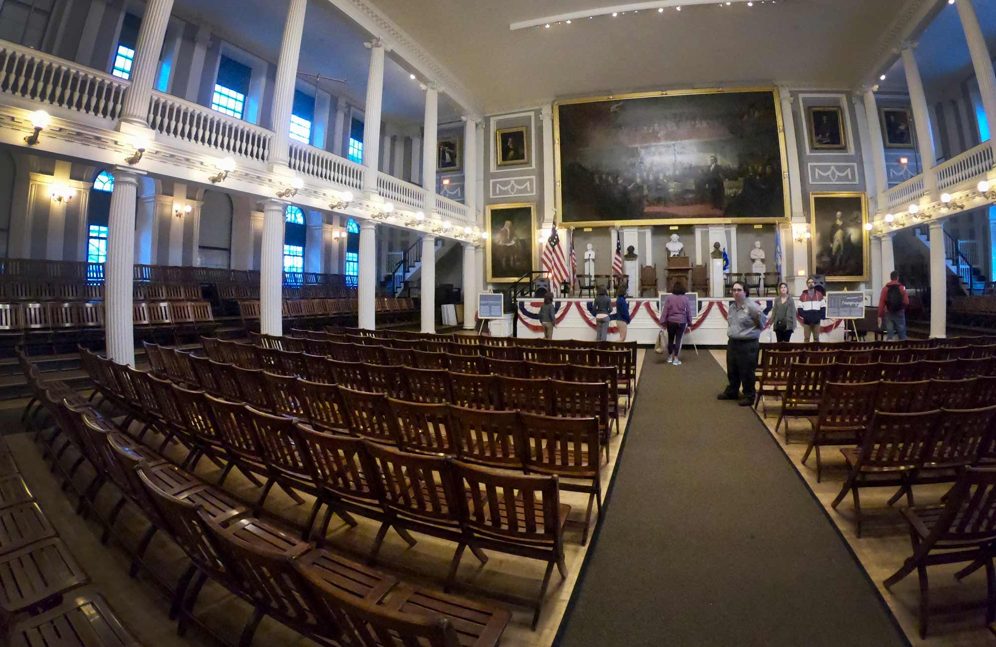 Interior view  Faneuil Hall in Boston National Historical Park on Freedom Trail in Boston, Massachusetts