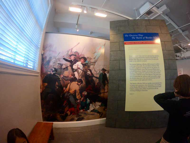 Boston Bunker Hill Museum interior on Freedom Trail in Boston, Massachusetts