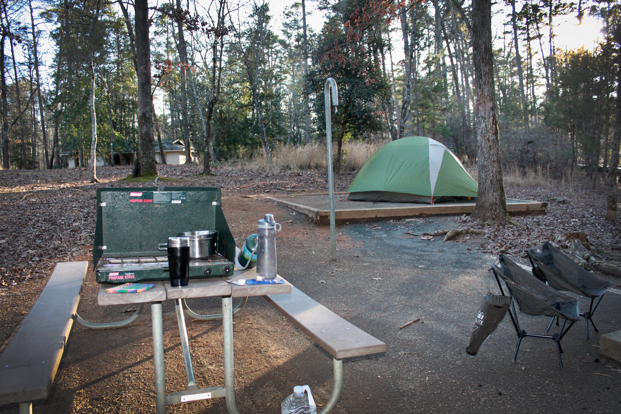 Tent and camping gear at the campsite  in Morrow Mountain State Park, North Carolina