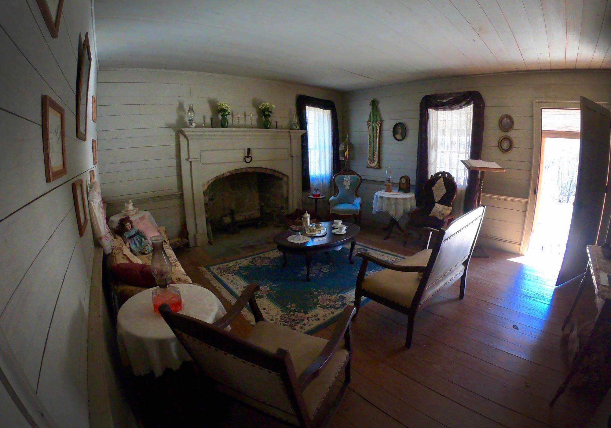 Interior view of Dr Kron homestead  in Morrow Mountain State Park, North Carolina