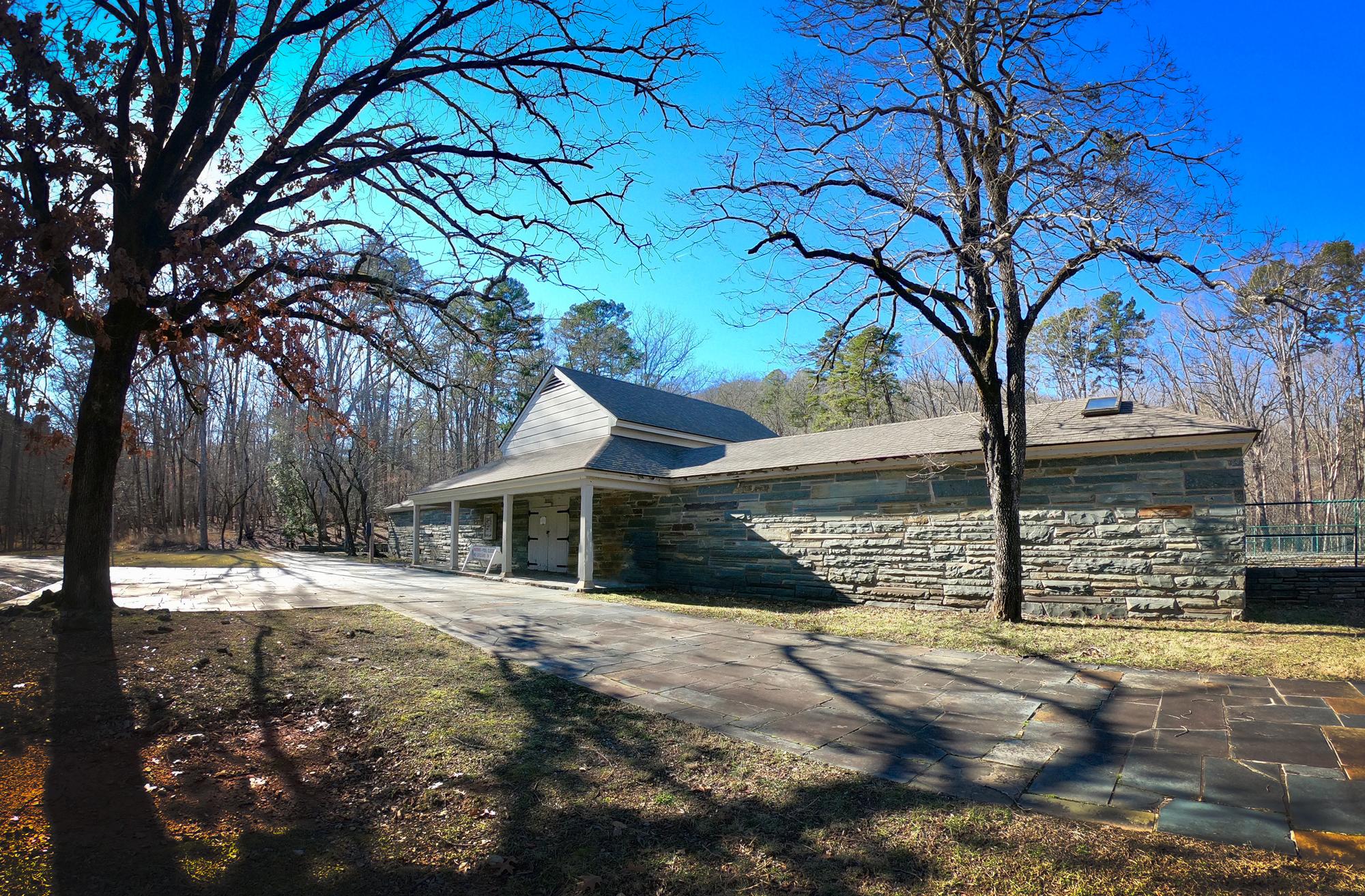 Stone swimming pool area  in Morrow Mountain State Park, North Carolina