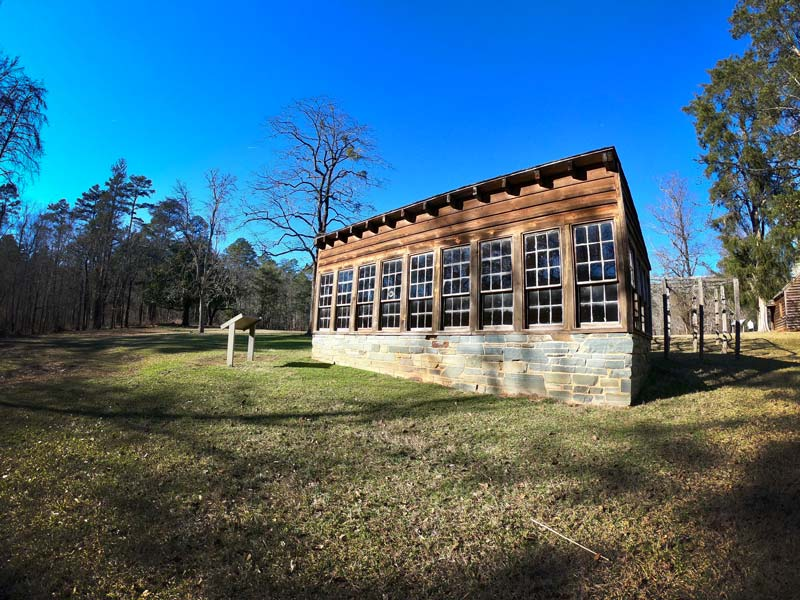 Replica of Dr Francis Kron his wooden greenhouse in Morrow Mountain State Park, North Carolina