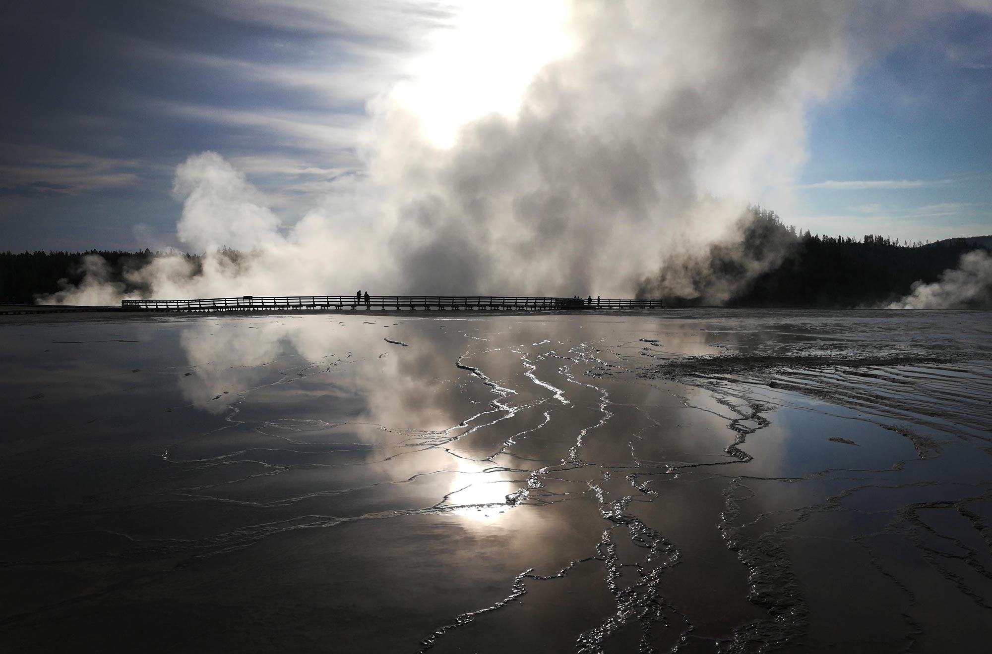 Early morning at Midway Geyser Basin with billowing steam off Grand Prismatic in Yellowstone National Park