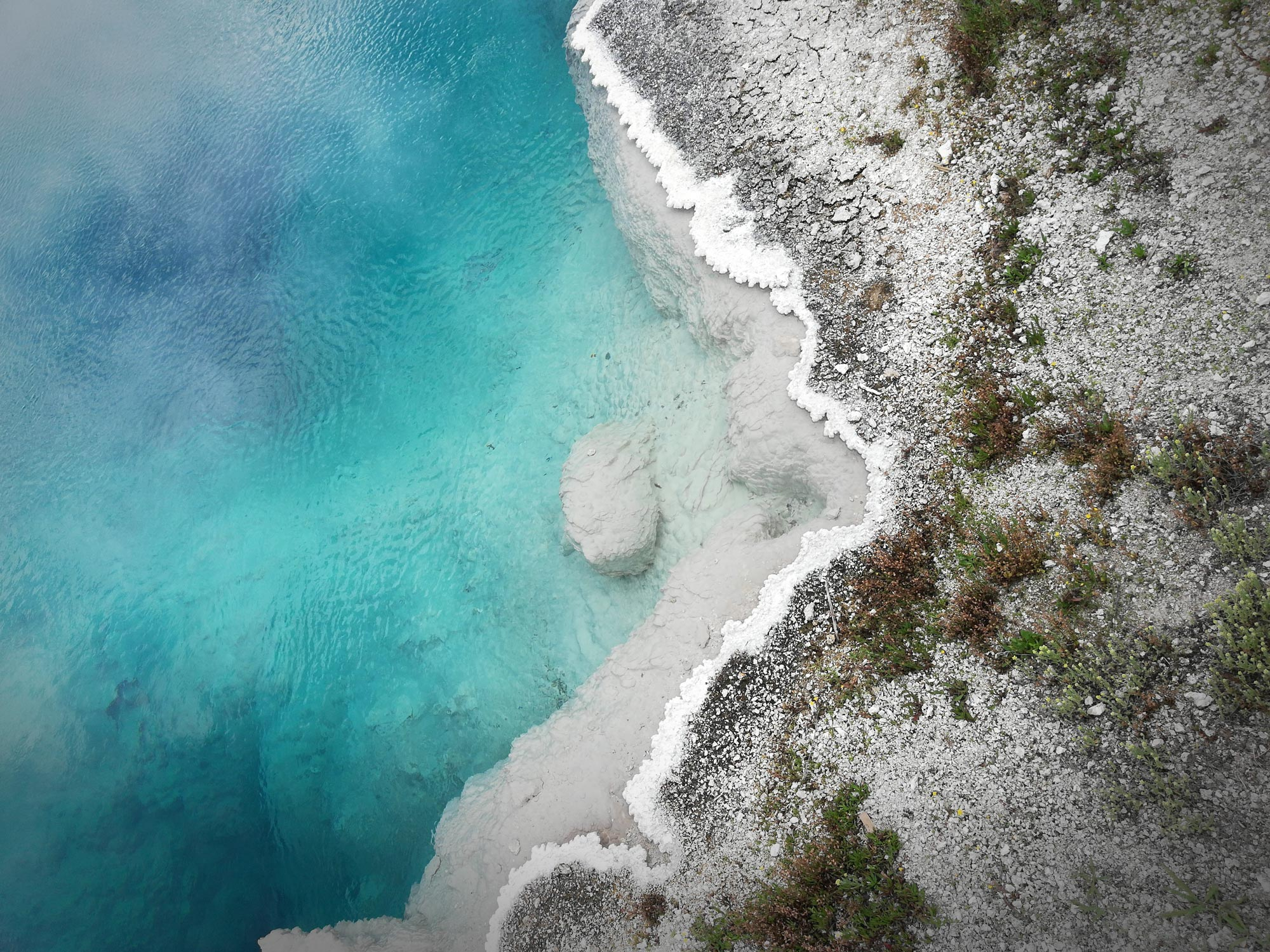 abyss pool at west thumb geyser basin in Yellowstone National Park