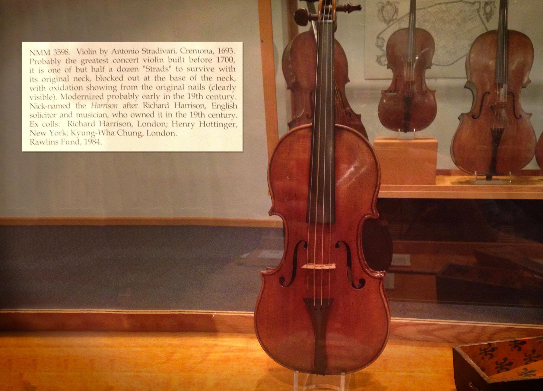 Exhibit of Stradivari violins at the University of South Dakota National Music Museum