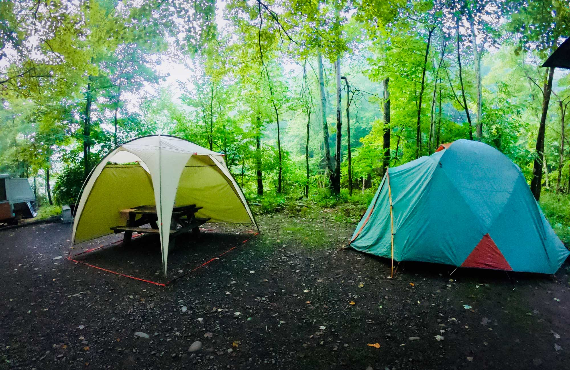 Campsite with tent in Catkskills at the Woodland Valley Campground, New York