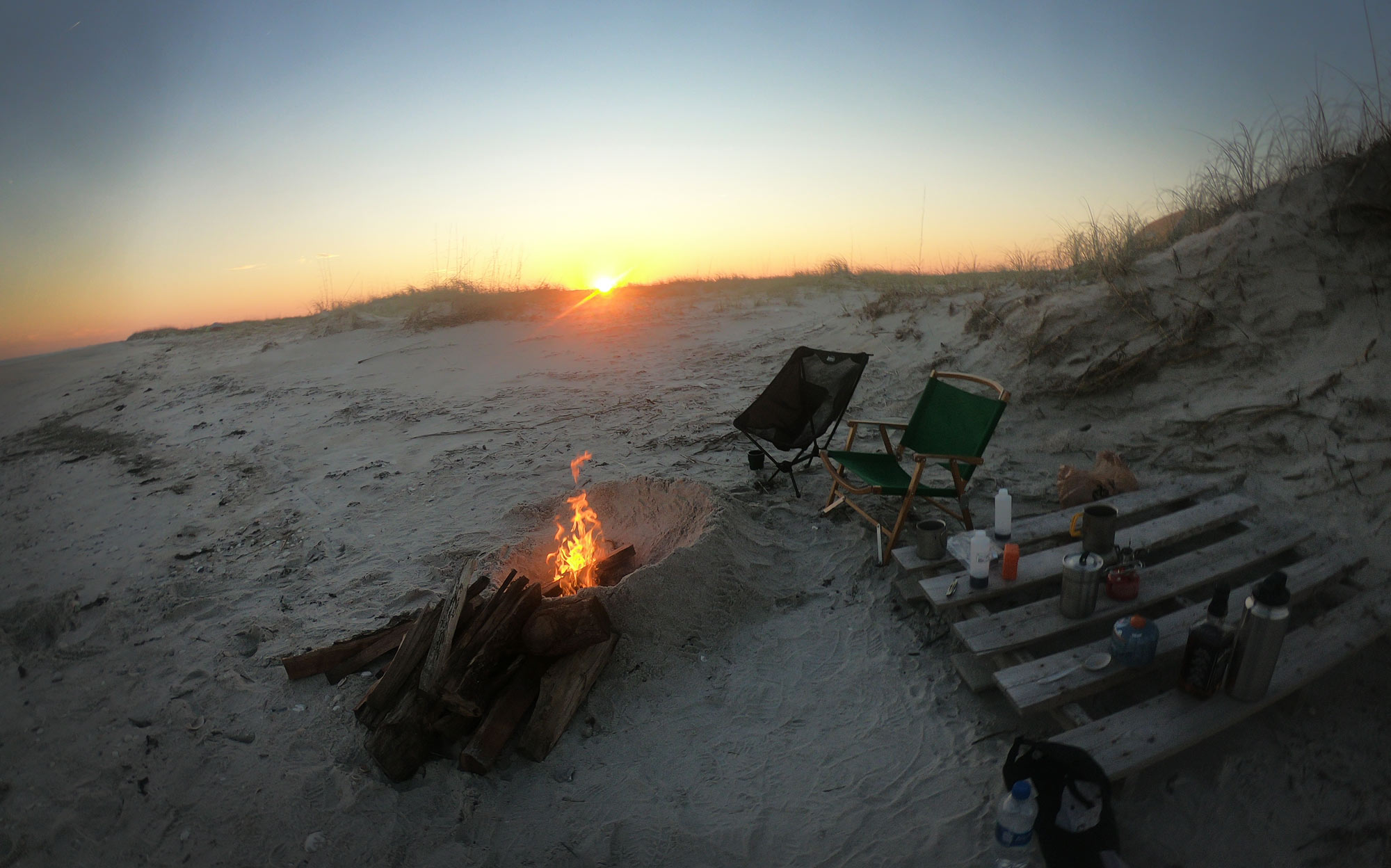 Beach campfire on Masonboro Island, North Carolina