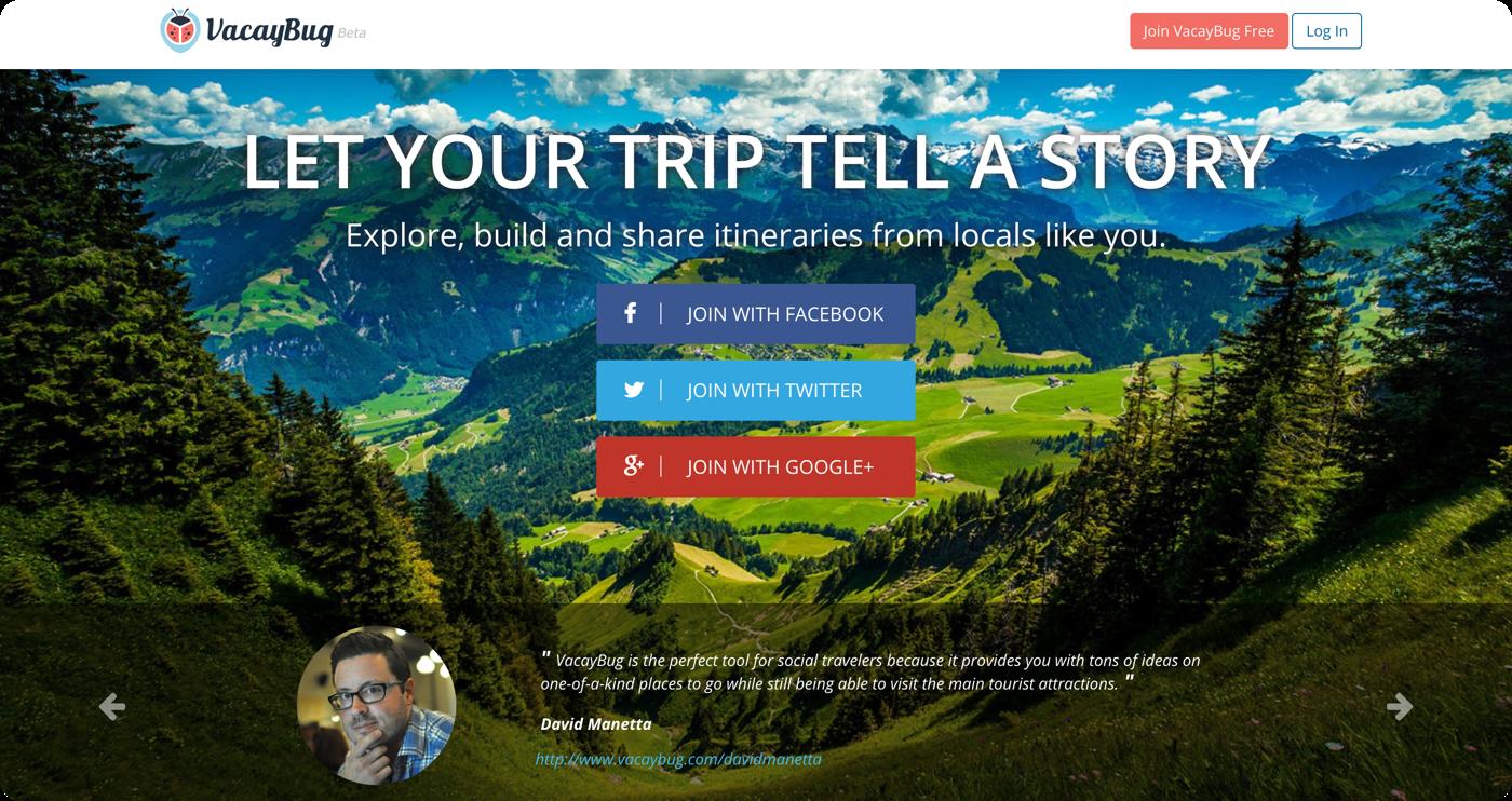VacayBug - marketing home page
