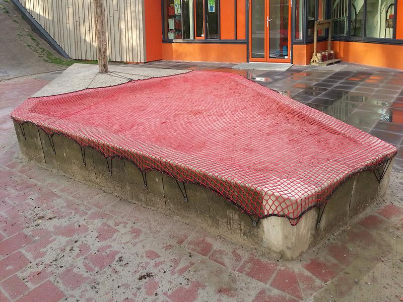 Zandbaknet op maat gemaakt