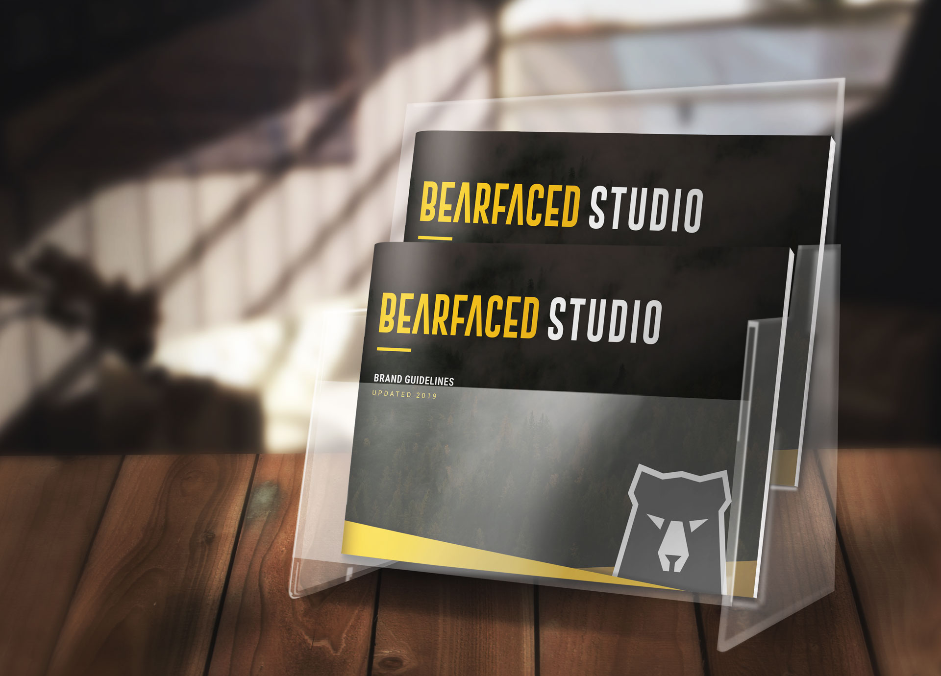 The Bearfaced Studio brand guidelines, arranged on a desk, ready to be picked up