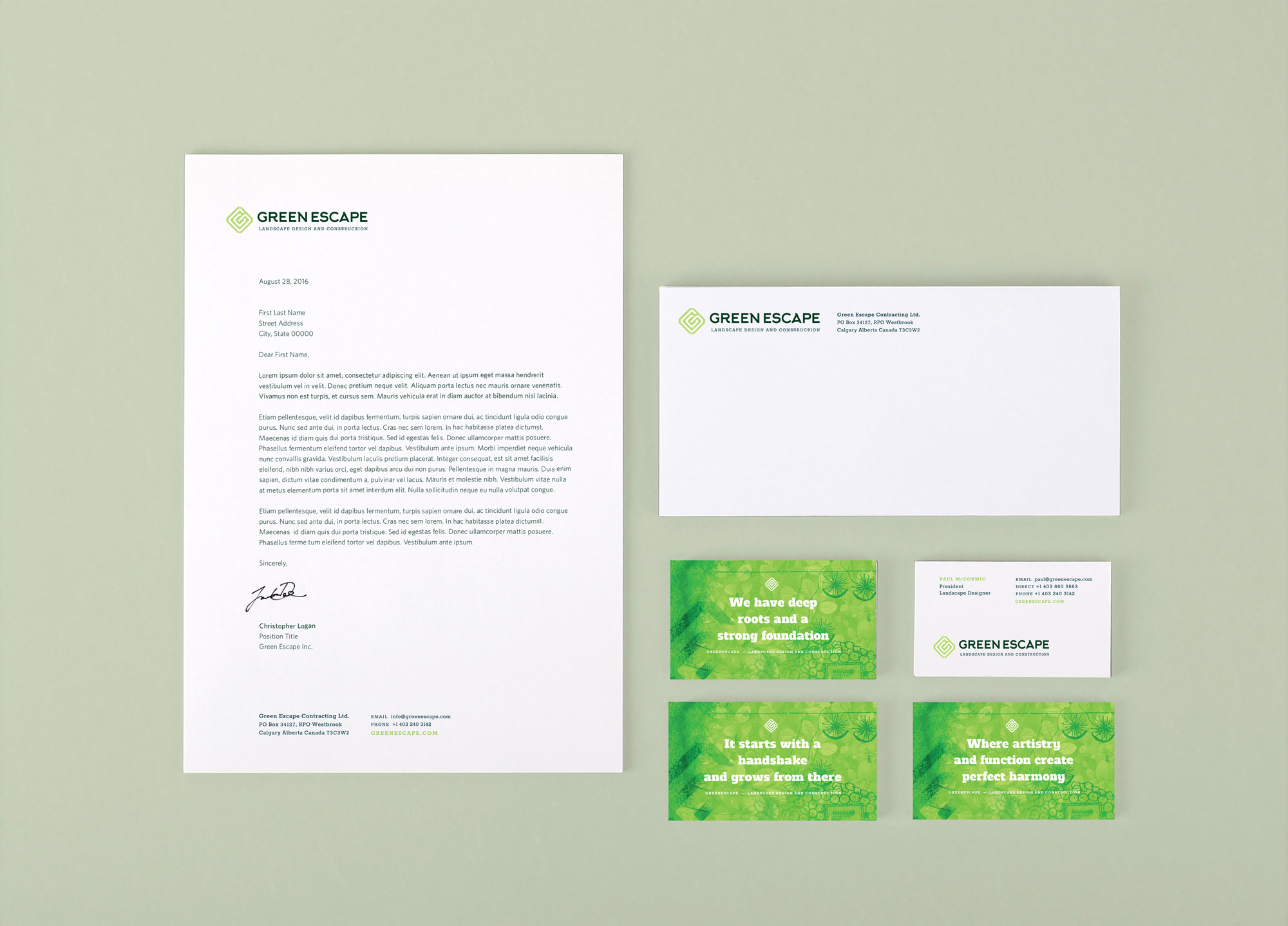 Garden Landscape Design company stationary business card design by Studio Forum for Green Escape Designs