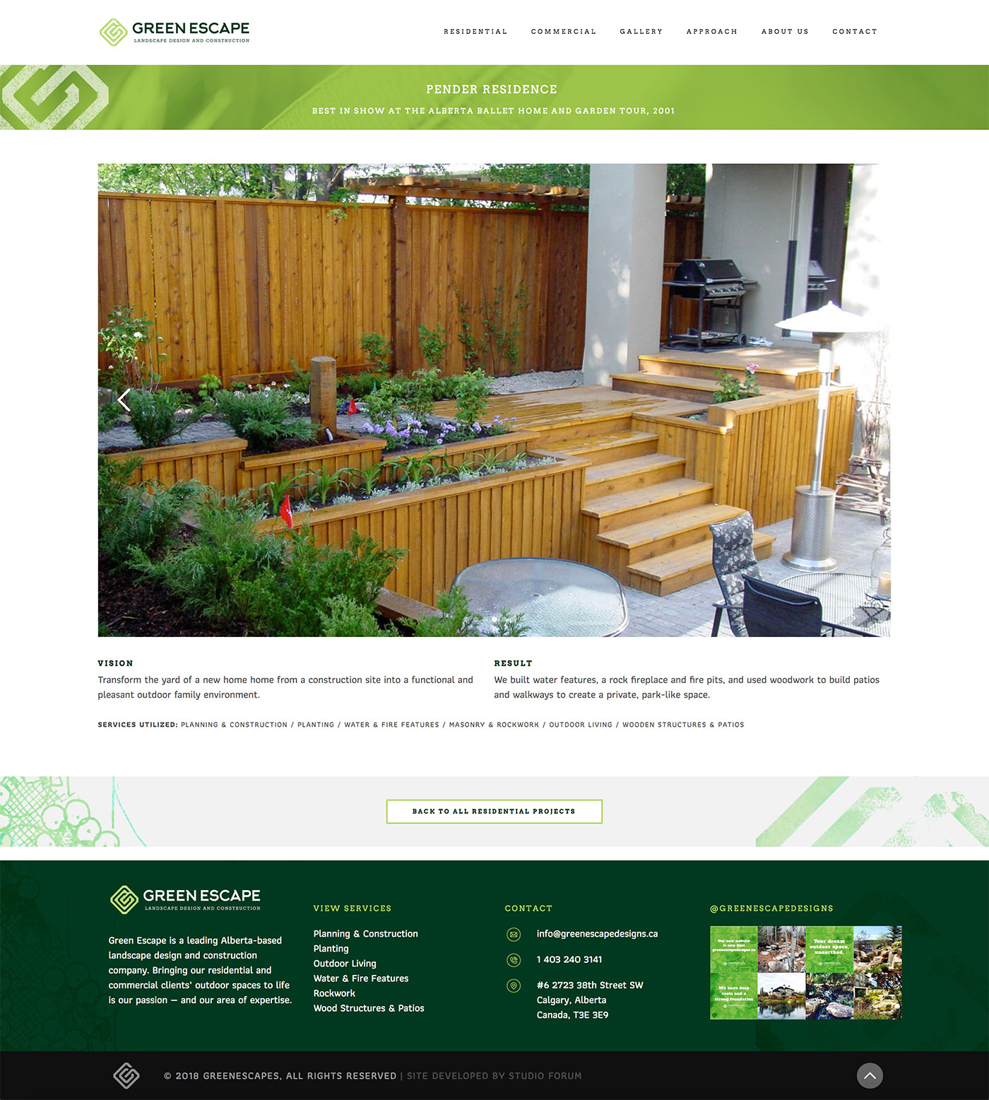 Green Escape Designs web design showing a gallery page backyard garden patio by Studio Forum