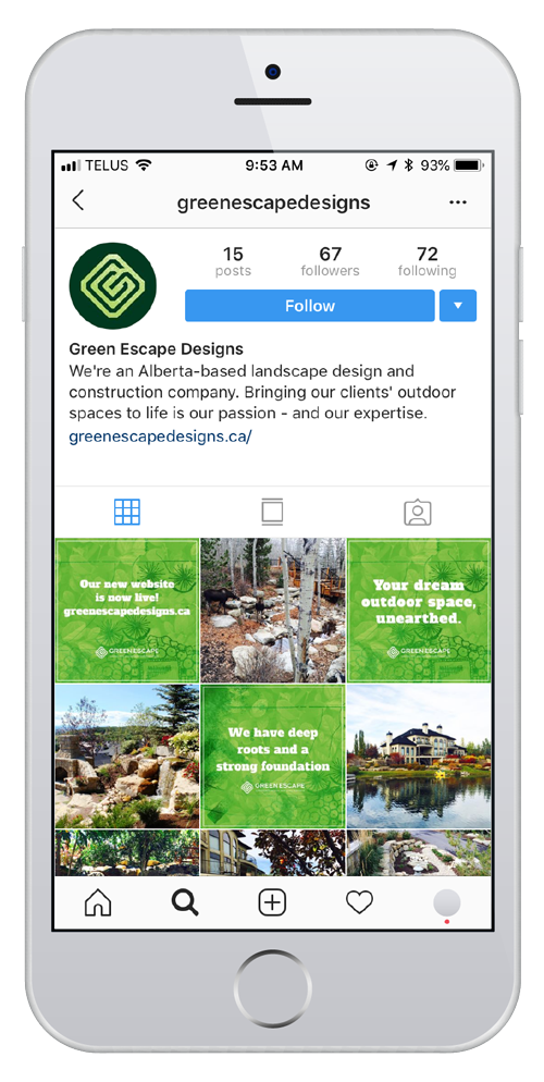 Green Escape Designs garden landscape construction instagram account design by Studio Forum Calgary